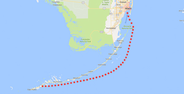 Sailing route, Miami to Key West