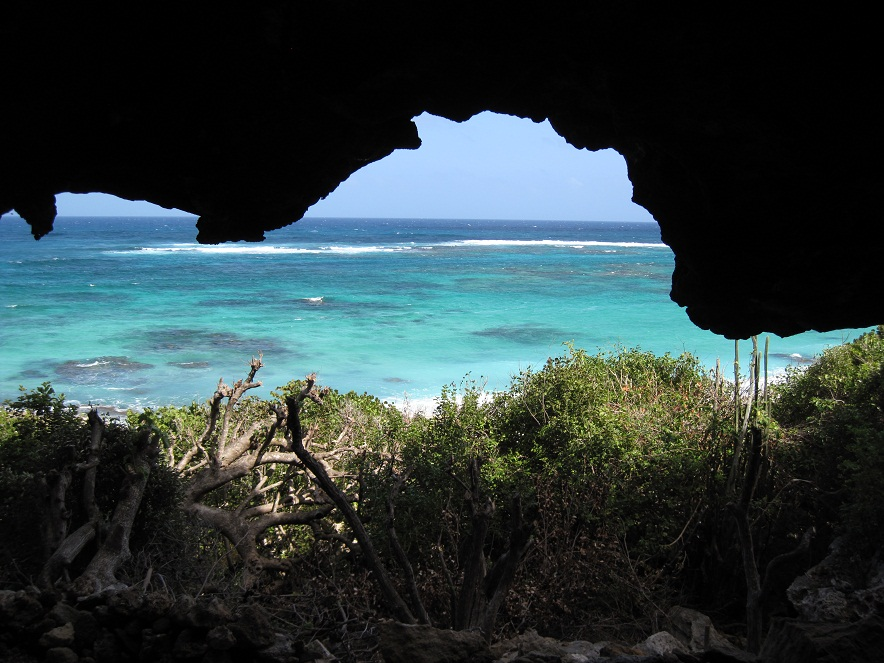 View onto Two Foot Bay from the inside of the cave