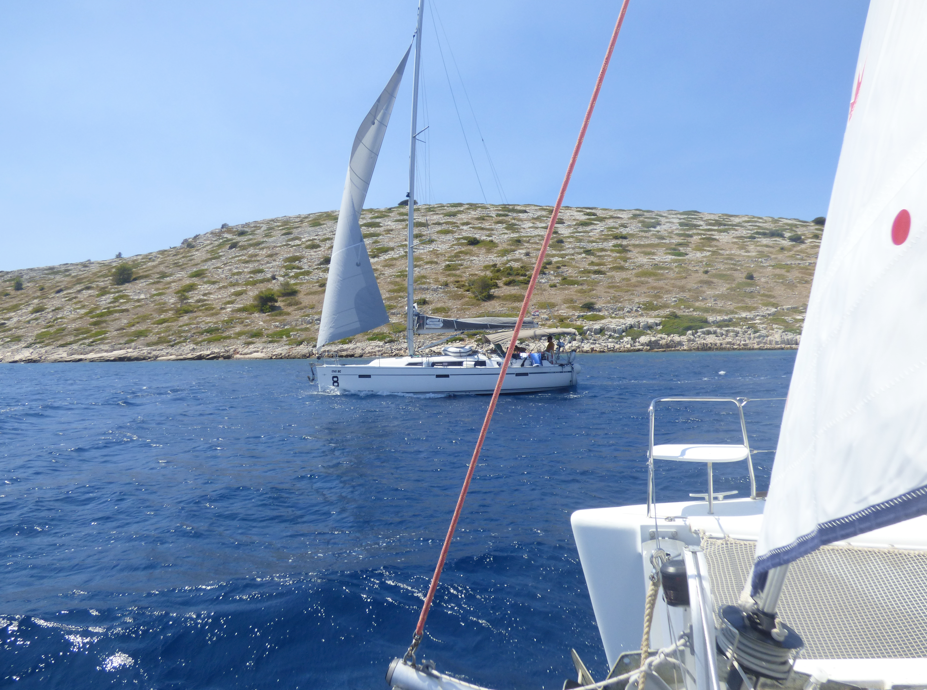 A sailboat in Kornati on our sailing trip in Croatia