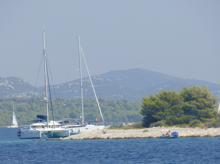 Anchoring on our sailing route in Croatia