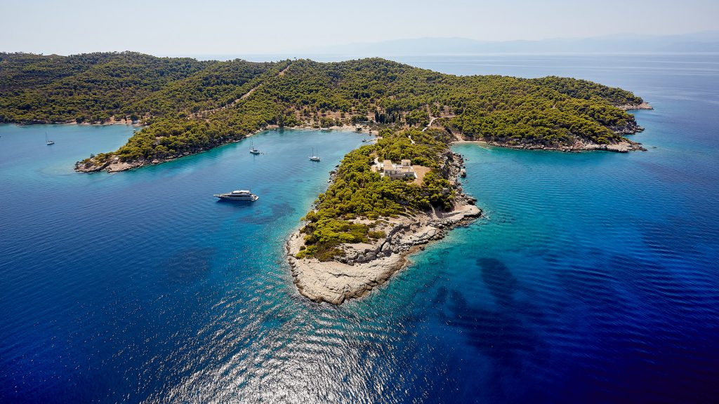Aerial view of the spectacular island of Spetses