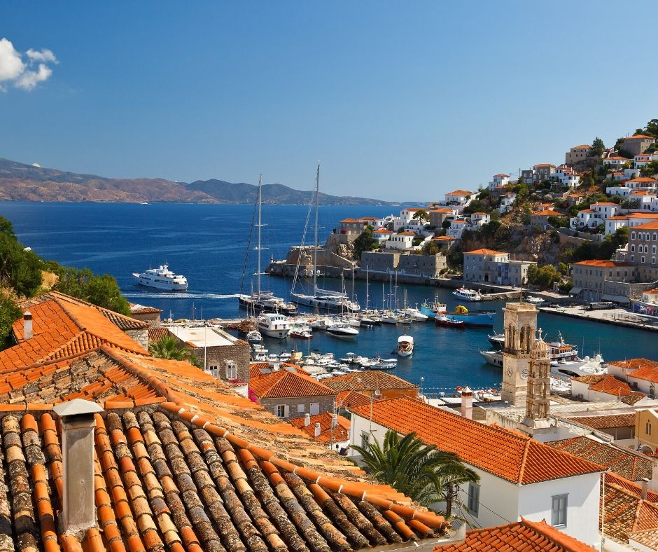 Hydra's car-free and inviting crescent shaped port