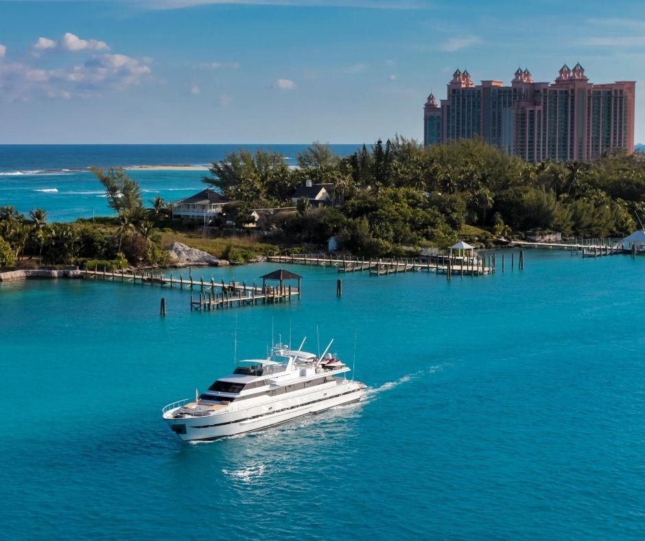 A boat through the Bahamas