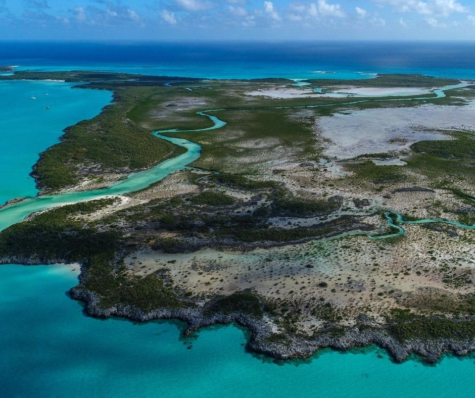 Aerial views of Shroud Cay in Bahamas