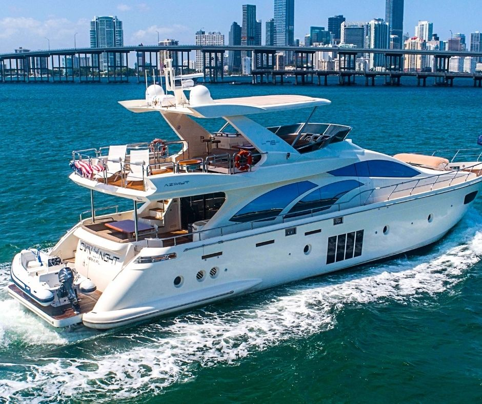 Yatch with water sports equipment