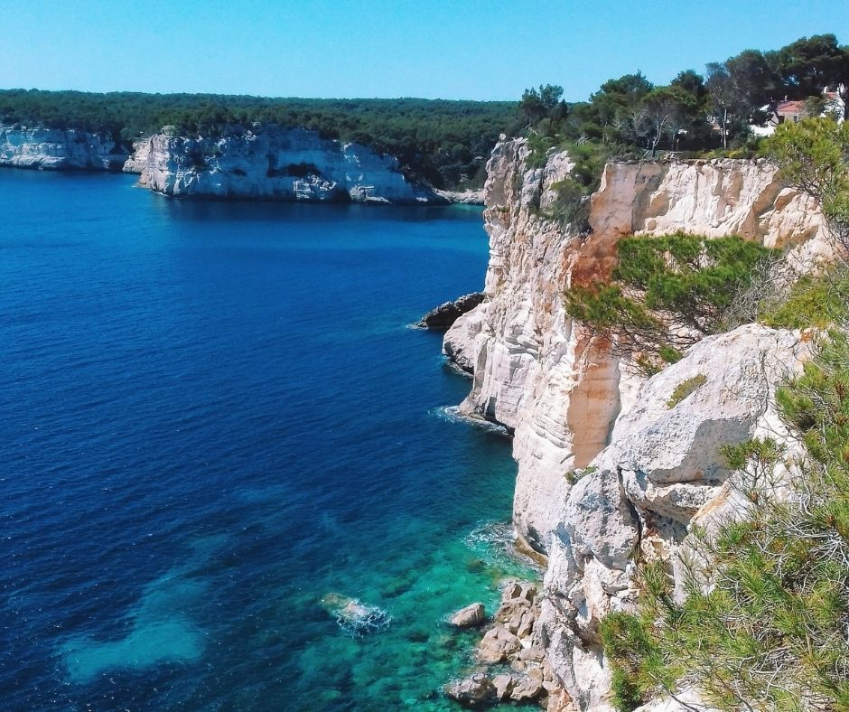 cala in menorca with the sea of the beautiful color