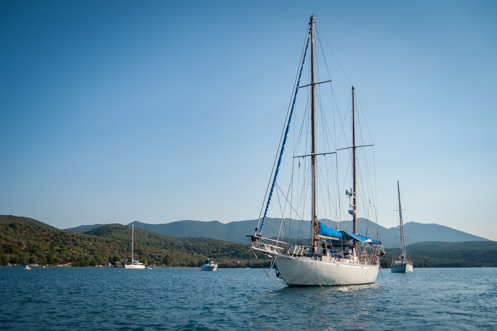 sailboat in Paros with greenery