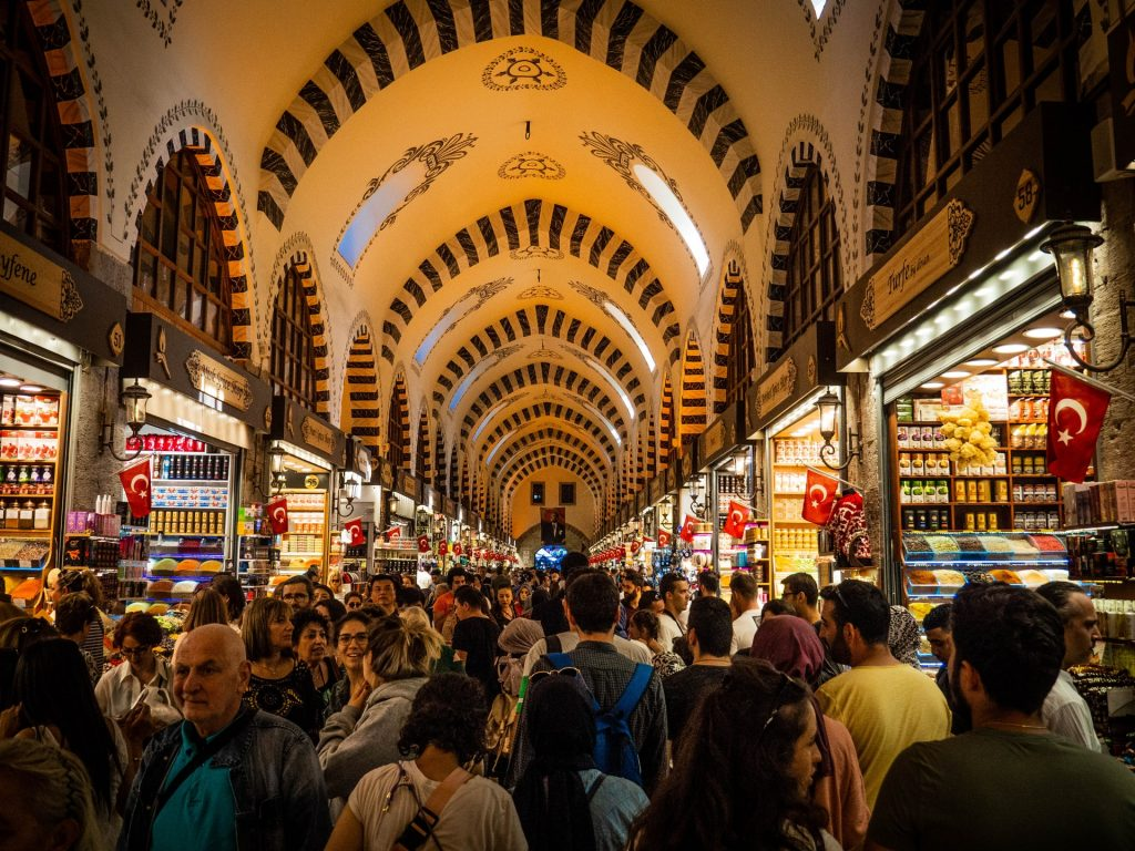 Grand Bazaar, Turkey, full of people - a great place to visit for a break from the beaches