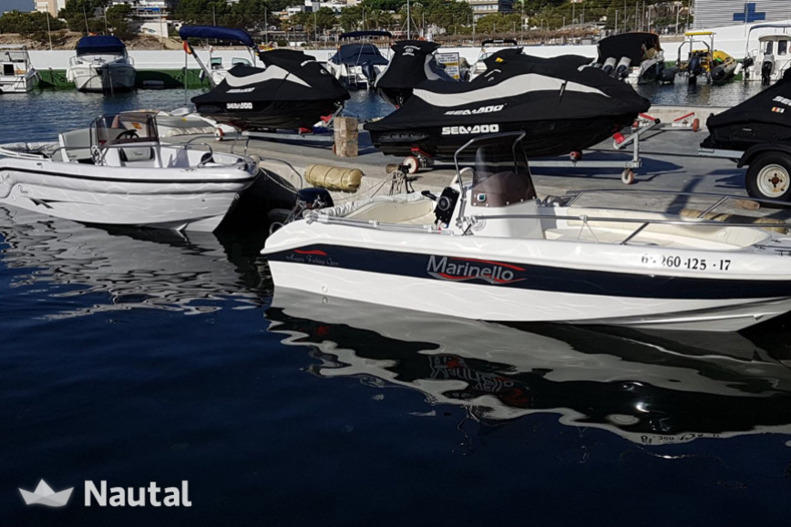 License free boat rent Marinello Open Happy Fishing in Club Nautico San Antonio, Mallorca
