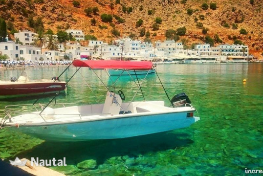 License free boat rent Kreta Mare 5.5m 30Hp in Hora Sfakion, Crete