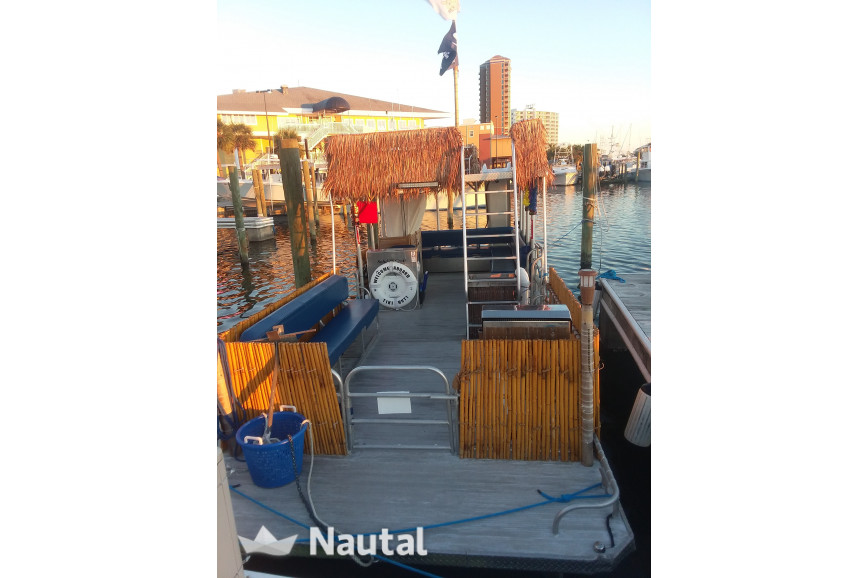 License free boat rent 2015 Solid Craft 16 passenger pontoon with water slide in Pensecola, North Florida