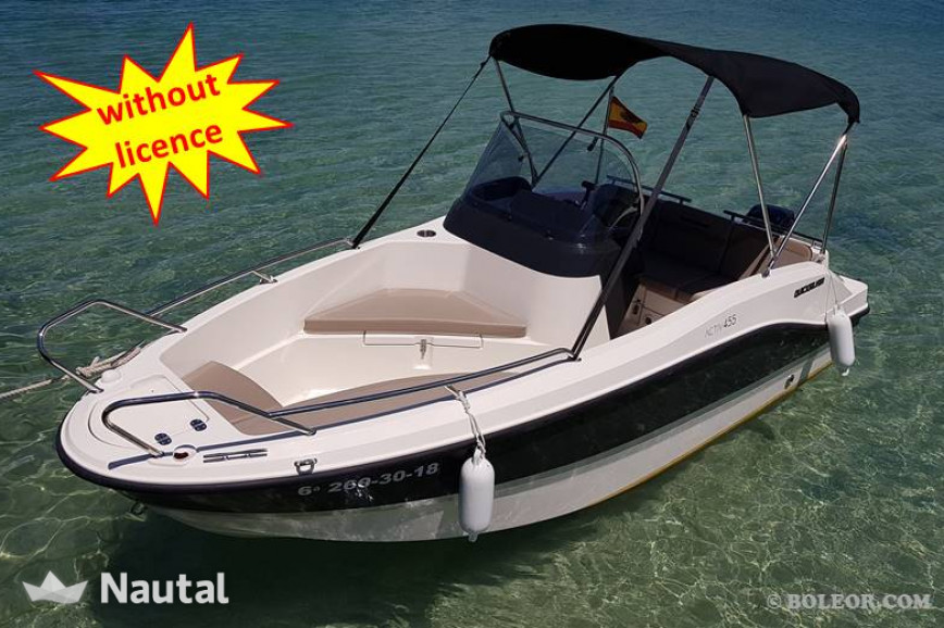 License free boat rent Quicksilver B455 Theia (without licence) in Can Pastilla, Mallorca