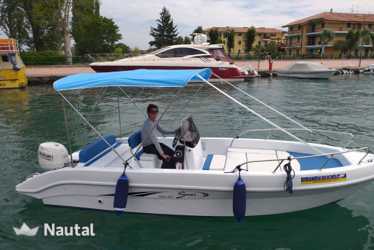 Motorboat rent Saver 585 Open in Porto Portese - San Felice sul Benaco, Lake of Garda